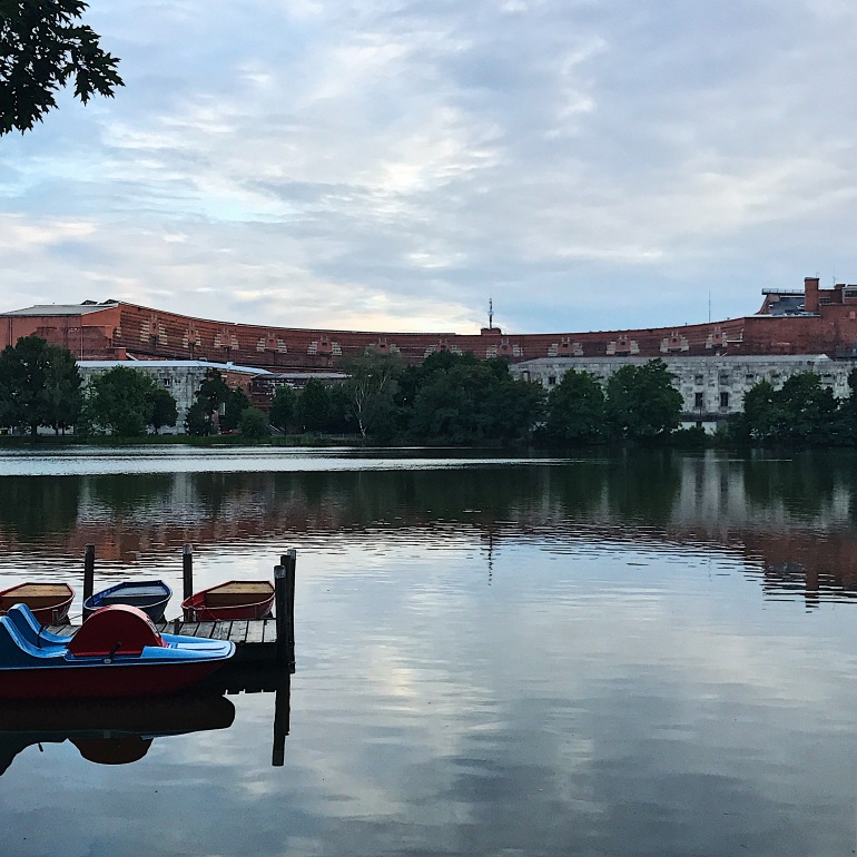 Lake view of the congress hall in Nuremberg